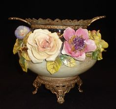 French Barbotine Jardinière/ Vase decorated with Ormolu Rose Morning Glory