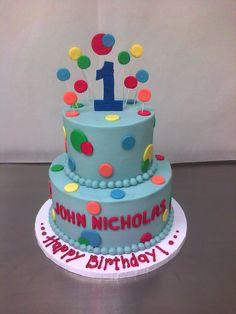 boys bithday cake | ... Colored Polka Dotted 1st Birthday Cake | Main Made Custom Cakes