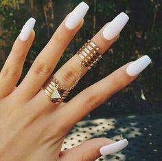 Coffin white matte nails