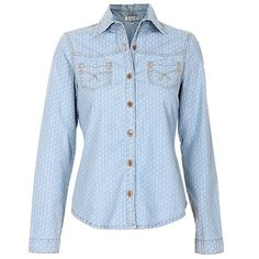 Camisa Casual Jeans Floral Feminina Desmond