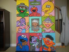 Sesame Street Cardboard Cutouts | Whole Gang Personalized Sesame Street Character Photo Party Cut-Out ...