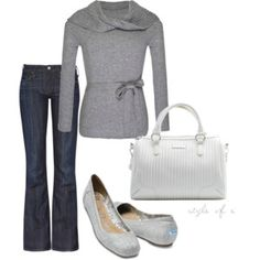 Gray Belted Sweater