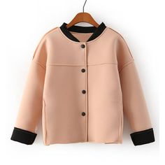 Elegant Stand Collar Color Block Single Breasted Long Sleeve Coat For Women, OFF-WHITE, ONE SIZE in Jackets & Coats | DressLily.com