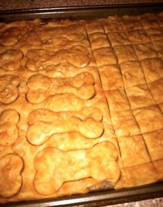 EASY Home Made Dog Treats Dog Treats 2 tablespoons of vegetable oil 1/2 cup creamy peanut butter (natural is best–no sugar!) 1 cup water 3 cups flour Cut dough into desired shapes before baking. I use cookie cutters for treats I plan to give away, but just a pizza cutter for our dogs. Bake for 20 minutes at 350, cool, break apart and serve. Freezes nicely. (Bored-fixin to make these right now!)