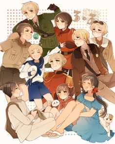 Hetalia - England's former colonies! - Australia, England, Hong Kong, America, Canada, Sealand, New Zealand, India, Wy and Seychelles