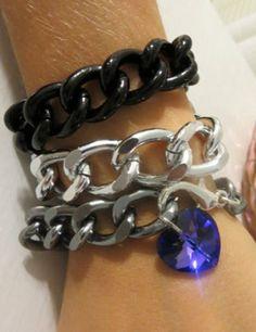 Swarovski Crystal Heart Gunmetal Chain Bracelet