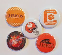 """Clemson Tigers Flatback - Pin Back Buttons 1"""" for Bows Etc"""