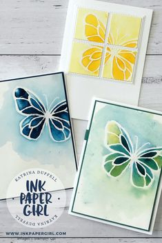 Stampin' Up! Beautiful Day Butterflies with Brusho, Occasions Catalogue 2018, Stampin' Up! Brusho Cards, Ink Paper Girl with Katrina Duffell Independent Stampin' Up! Demonstrator Sydney Australia