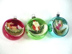 Mercury Glass Diorama Christmas Ornaments Set of 3 by ChromaticWit