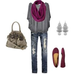 Need to get over my fear of flats and skinny jeans. This outfit might help.