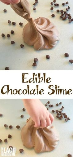 No, but really, edible chocolate slime is another fun slime that you can feel safe letting your kids play with (and eat)! Did you see the Edible Starburst Slime I shared earlier? It's been a hit! This one is a little stickier and Edible Slime, Diy Slime, Food Slime, Homemade Slime, Starburst Slime, Chocolate Slime, Chocolate Syrup, Making Chocolate, Chocolate Chips