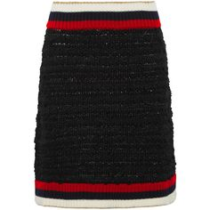 Gucci Ribbed knit-trimmed bouclé-tweed mini skirt ($725) ❤ liked on Polyvore featuring skirts, mini skirts, black, short skirts, striped mini skirt, boucle skirt, colorful skirts and multi color skirt