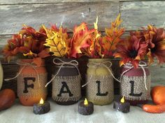 Fall Decor, Mason Jar Fall Decor Set of 4 by Country Clutter.