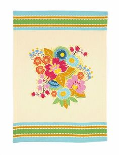 Folk Blossom Azule Dish Towel. So cute! Just need a white country kitchen to put it in!