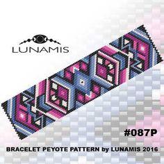 Peyote bracelet pattern, peyote pattern, stitch pattern, pdf file, pdf pattern, #087P by LunamisBeadsPatterns on Etsy