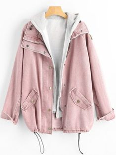 Wipalo Button Up Denim Jacket With Hooded 2 Piece Jean Plus Size Autumn Women Coat 2018 Fashion Streetwear Veste Femme Teen Fashion Outfits, Mode Outfits, Trendy Outfits, Fashion Dresses, Mode Kpop, Vetement Fashion, Hooded Vest, Trendy Swimwear, Kawaii Clothes