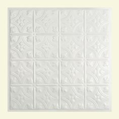 Great Lakes Tin Hamilton Matte White 2-foot x 2-foot Lay-in Ceiling Tile (Carton of 5)