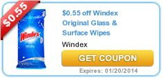 Print the new $.55/1 Windex Glass and Surface Wipes coupon! - http://printgreatcoupons.com/2013/11/23/print-the-new-551-windex-glass-and-surface-wipes-coupon/