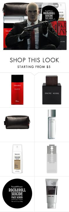 """""""Agent 47 from the Hitman Series (Men's Grooming)"""" by imanirine ❤ liked on Polyvore featuring beauty, Christian Dior, Lalique, ESTIE Bags, Shiseido, Axe, BEVEL, Triumph & Disaster, Anthony and Czech & Speake"""