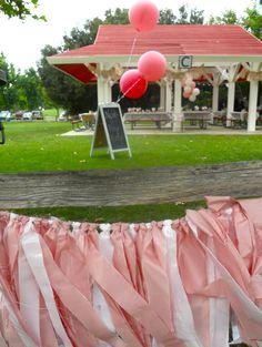 DIY Ribbon garland - use $1 plastic tablecloths
