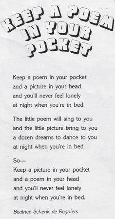 ELEMENTARY SCHOOL ENRICHMENT ACTIVITIES: KEEP A POEM IN YOUR POCKET