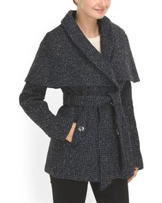 Wool Blend Caped Coat