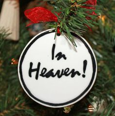 Handmade - Black & White Flat Ornament - In Heaven (Gifts for Christian Occasions / Christian Christmas Decor / Christian Christmas Ornaments) Ceramic Christmas Trees, Christmas Tree Ornaments, Christmas Decorations, Holiday Decor, Christian Christmas, Christian Gifts, Gift From Heaven, White Flats, Ceramic Pottery
