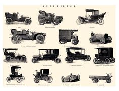 vintage vehicles from 1800s | Vintage Car Digital Collage by PetitePaperie on Etsy