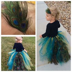 Easy and cheap toddler Peacock Halloween Costume. Make a tulle tutu cutting the tulle longer in the back and then hot glue on peacock feathers. Headband was just elastic and smaller peacock feathers glued on. I got the tulle from Hobby Lobby (was hoping for blue and dark green but the gold didn't look too bad) and a pack of 100 peacock feathers from Amazon. Now I have extra feathers to do future crafts with. Score! Tulle Halloween Costumes, Halloween Headband, Halloween Stuff, Halloween Ideas, Happy Halloween, Toddler Costumes, Family Costumes, Kid Costumes, Costume Ideas