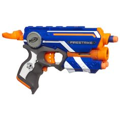 Firestrike blaster Precision light beam works on targets up to 15' away Tactical rail is compatible with most N strike accessories Includes 3 elite darts Fires elite darts up to 75'