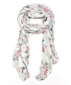 Loving this East Cloud White & Pink Floral Scarf on #zulily! #zulilyfinds