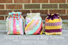 Striped Drawstring Bag Tutorial by Jeni Baker, via Flickr