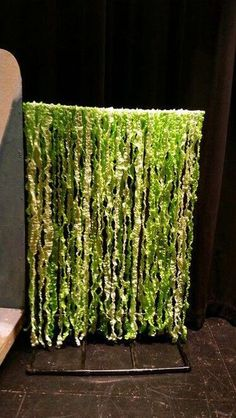Jungle Vines Made From Plastic Table Cloths Jungle Party, Jungle Theme, Forest Theme, Theme Halloween, Halloween Decorations, Lion King Jr, Plastic Tablecloth, Trunk Or Treat, Stage Set