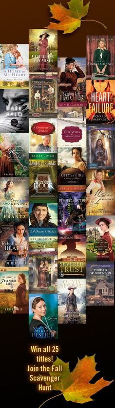 Coming soon (Oct 18-20), a new Christian Fiction Scavenger Hunt. Begins at noon Mountain Time on Oct 18, 2013. Check web site for instructions on the 18th. Chance to win 25 newly released novels, plus many other prizes. Go to http://www.LisaBergren.com BUT YOU HAVE TO WAIT UNTIL THE PROPER TIME TO BEGIN!!