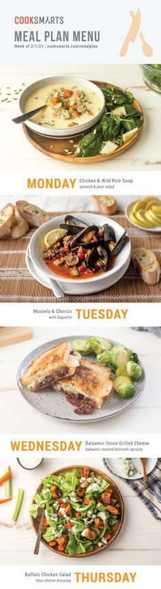 Meal Plan Menu -- Comfort Food Favorites | In this week's meal plan, you'll find easy cold weather recipes for cozy comfort dinners. At Cook Smarts, we help you serve up healthy dinners on even your busiest weeknights. Our weekly meal plans save you time and money, come with simple recipes for all cooking skill levels, and include gluten-free, paleo, & vegetarian options, as well as grocery list + optional weekend meal prep tips. Learn more and sign up for a FREE 14-day trial at… Healthy Eating Meal Plan, Healthy Family Meals, Healthy Dinners, Eat Healthy, Healthy Cooking, Healthy Recipes, Easy Homemade Recipes, Simple Recipes, School Lunch Recipes