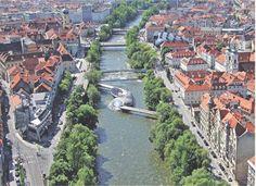 Graz, Austria - view Mur Innenstadt
