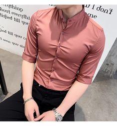 Slim Fit Dress Shirts, Slim Fit Dresses, Fitted Dress Shirts, Formal Men Outfit, Formal Dresses For Men, Half Sleeve Shirts, Half Shirts, Indian Men Fashion, Korean Fashion