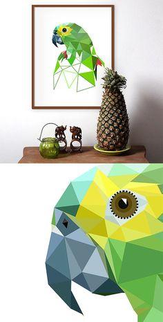 Parrot art Geometric art Parrot art print Geometric by villavera