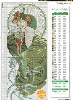 0 point de croix femme art nouveau en vert - cross stitch art nouveau lady in green