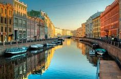 Canals and colorful buildings in Saint Petersburg, Russia St Petersburg Russia, St Pétersbourg Rússie, The Places Youll Go, Places To See, Boat Tours, Most Beautiful Cities, Amazing Places, Wonders Of The World, Resorts