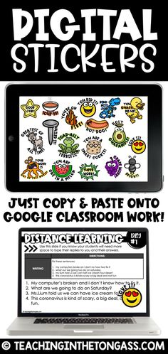 digital stickers Google Classroom, Teacher Stickers, Online Classroom, Classroom Language, Student Work, Student Gifts, Classroom Activities, Reuse, Instructional Technology