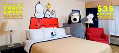 Peterson Peterson Bartz Knott's Berry Farm hotel: Snoopy Room --good enough reason to head out towards Moo? Camp Snoopy, Snoopy Love, Charlie Brown And Snoopy, Snoopy And Woodstock, Die Peanuts, Peanuts Snoopy, Boy Room, Kids Room, Themed Hotel Rooms
