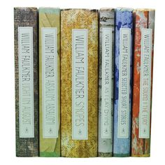 William Faulkner books in coordinating hardcover designs from Modern Library, sold as a lovely set of 6 by Juniper Books.