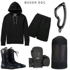 Boxer EDC // Clockwise: Hoodie by Reigning Champ, Boxing Shorts by Rick Owens, Arcus carabiner by @svorndesign, Barrel bag by Troubadour, Boxing gloves by LEONE 1947, Shoes by Title Boxing //  #edc #box #boxing #mensedc #mensgear #mensstyle #streetstyle #gymstyle #training #black #allblack #luxury