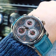 REPOST!!!  Change to turquoise blue🌏. . Centigraphe Souverain Anniversary is a limited edition produced to mark the 10th anniversary of each of F.P.Journe boutiques. This particular one is one of 10 for Tokyo boutique which is their first boutique in the world. In 2017, 2 boutiques reach the10th birthday. Geneva and Florida🤗. . #fpjourne #centigraphe .  Photo Credit: Instagram ID @aytystyle