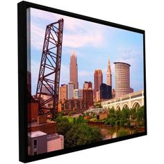 ArtWall Cody York Cleveland 10 inch Floater Framed Gallery-Wrapped Canvas, Size: 12 x 18, Brown