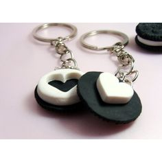 BFF Oreo Cookies Best Friends Oreo Heart Set of 2 Key Chains High... ($18) ❤ liked on Polyvore featuring accessories, fob key chain, heart shaped key chains and heart key chain