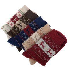 Christmas Gift Snowflake Deer Design Womens Thicken Wool Socks Warm  drop shipping #Affiliate