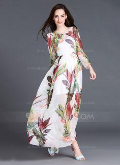 Maxi Round Neck Silk 100%Silk Print Long Sleeves Fashion Dresses