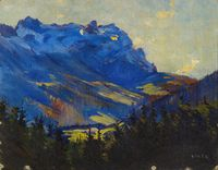 Overlooking the Wissbachtal the Alpstein with Oehrli - Carl August Liner Swiss, Oil on canvas laid on cardboard , 52 x 54 cm. Feeling Special, All The Colors, Oil On Canvas, Past, Art Gallery, Colours, St Gallen, Painting, Colourful Art